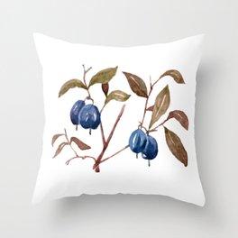 Watercolor Bog Bilberry Throw Pillow