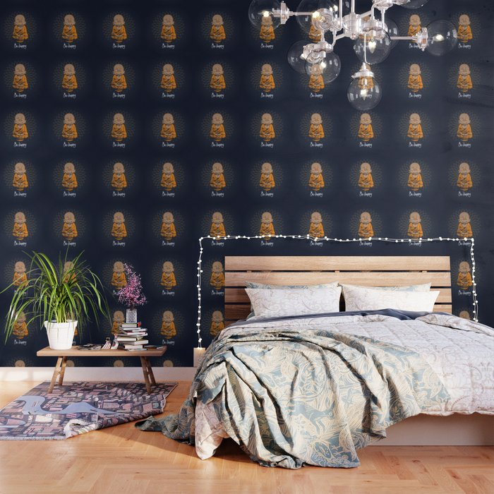 Be Happy Little Buddha Wallpaper by greennatural   Society6