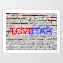 LOVE – HATE - Neon Art Print