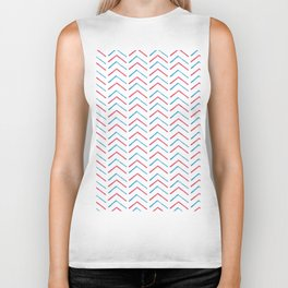 Simple red blue hand painted watercolor chevron geometrical Biker Tank