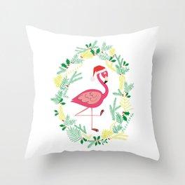 FLAMINGO CHRISTMAS WREATH Throw Pillow
