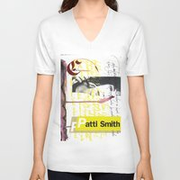 calligraphy V-neck T-shirts featuring Calligraphy 4 by omerfarukciftci