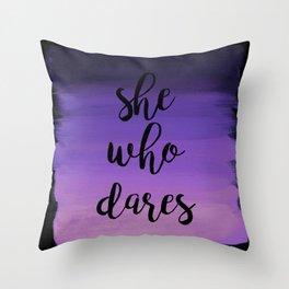 She Who Dares - Indigo Ombre Throw Pillow
