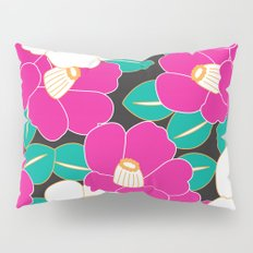 Japanese Style Camellia - Pink and Black Pillow Sham