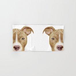 Pitbull light brown Dog illustration original painting print Hand & Bath Towel