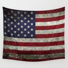 American Flag, Old Glory in dark worn grunge Wall Tapestry