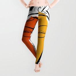 Minimal Pop Portrait in Orange and Yellow Illustration Leggings