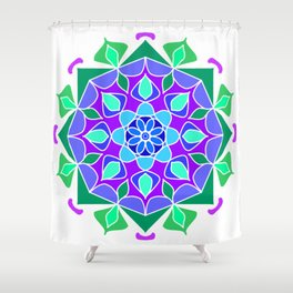 Mandala in blue and green colors Shower Curtain