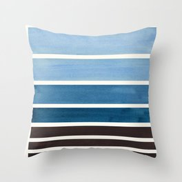 Green Blue Minimalist Watercolor Mid Century Staggered Stripes Rothko Color Block Geometric Art Throw Pillow