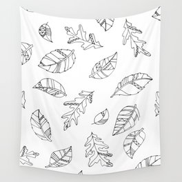 Leaf Drawings Wall Tapestry