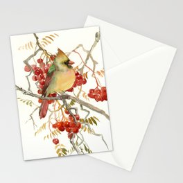 Cardinal Bird and Berries Stationery Cards