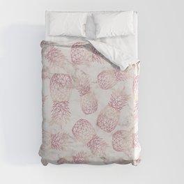 Geometric rose gold pineapples marble pattern Duvet Cover