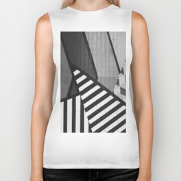 Abstract Art (Black and White) Biker Tank