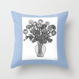 Spring Flowers in Vase on Robin's Egg Blue Background Throw Pillow