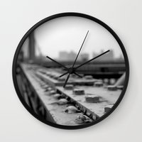 brooklyn bridge Wall Clocks featuring Brooklyn Bridge by Alane Gianetti