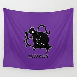 AQUARIUS Horoscope Water Bearer Design - Purple Wall Tapestry