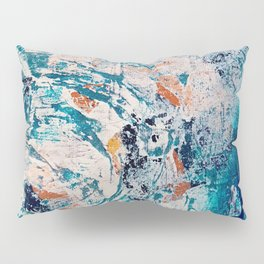 Reflections: a bold and interesting abstract mixed media piece in blues, yellows, orange, and white Pillow Sham