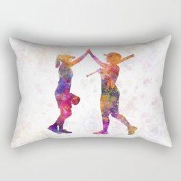 women playing softball 01 Rectangular Pillow