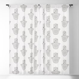 Light pale white and grey boho hamsa hand pattern Blackout Curtain