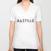 bastille V-neck T-shirts featuring Bastille Flower Logo by marinasdiamonds