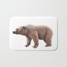 Brown bear watercolor isolated on white background Bath Mat