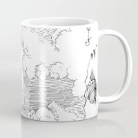 led zeppelin Mugs featuring Zeppelin Overhead by Mr.Willow
