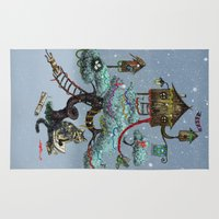 christmas tree Area & Throw Rugs featuring Christmas Tree by Anna Shell