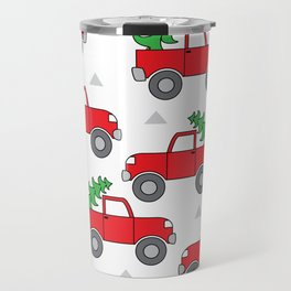 red trucks and christmas trees Travel Mug