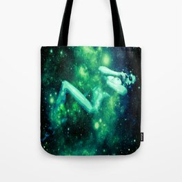 Green Galaxy Woman : Nude Art Tote Bag