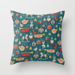 Teal Christmas Ornament Pattern Throw Pillow
