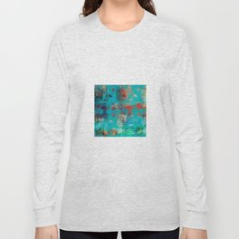 Aztec Turquoise Stone Abstract Texture Design Art Long Sleeve T-shirt