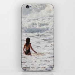 Breaking wave and girl iPhone Skin