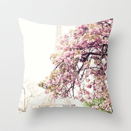 Cherry blossoms in Paris, Eiffel Tower II Throw Pillow