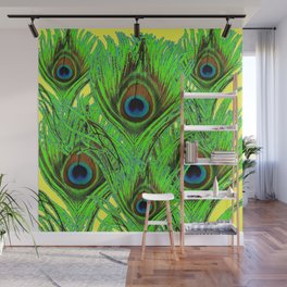 YELLOW-GREEN PEACOCK FEATHERS ABSTRACT ART Wall Mural