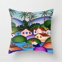 Classical Masterpiece 'An Angler' by Tarsila do Amaral Throw Pillow