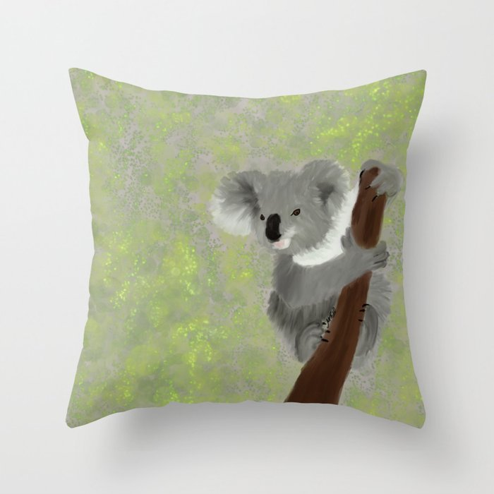 Koala Bear Hanging In There Throw Pillow