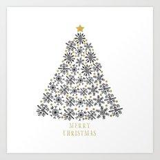 Snowflakes Tree (black gold) Art Print