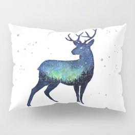 Galaxy Reindeer Silhouette with Northern Lights Pillow Sham