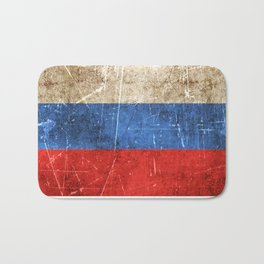 Vintage Aged and Scratched Russian Flag Bath Mat