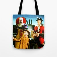 pennywise Tote Bags featuring PENNYWISE IN MARY POPPINS by Luigi Tarini