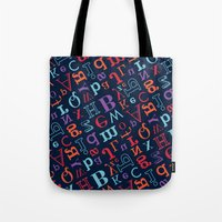 alphabet Tote Bags featuring Alphabet  by cactus studio