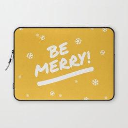 Mustard Yellow Be Merry Christmas Snowflakes Laptop Sleeve
