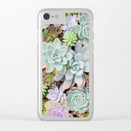 Pastel Succulent Garden Clear iPhone Case