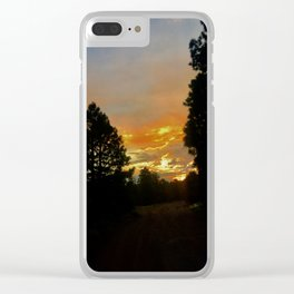 Sunset Pines Clear iPhone Case