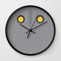 iron giant Wall Clocks featuring Iron Giant by VineDesign