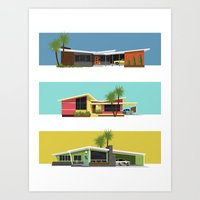 mid century modern Art Prints featuring Mid Century Modern Houses 2 by MidPark Prints