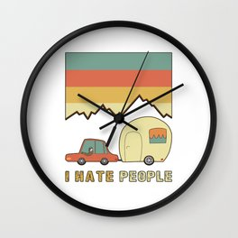 I Hate People Humans Holiday Sloth Camper Camping Design Wall Clock