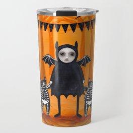 Skellie Girl and Bat Cats Travel Mug