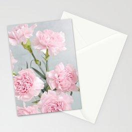 Elegant modern blush pink green carnations floral Stationery Cards