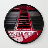 ferrari Wall Clocks featuring Ferrari behind. by Cozmic Photos